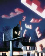 big giant pink e's flying out of a metal mailbox with a house in the bakground at nighttime