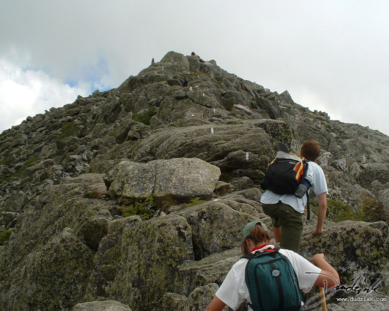 Picture of Rick and Jane climbing the last 10% of one of the Mt. Katahdin ridges.