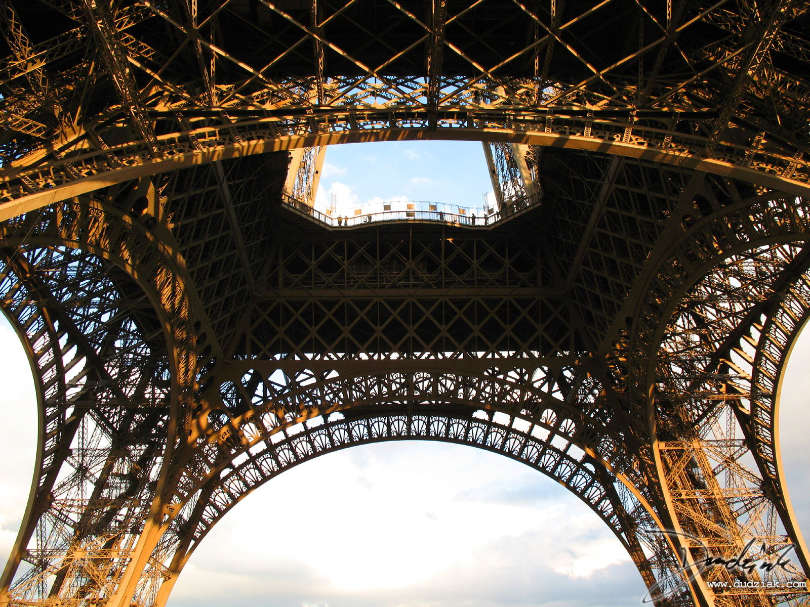 Picture of the underside of the Eiffel Tower in Paris.