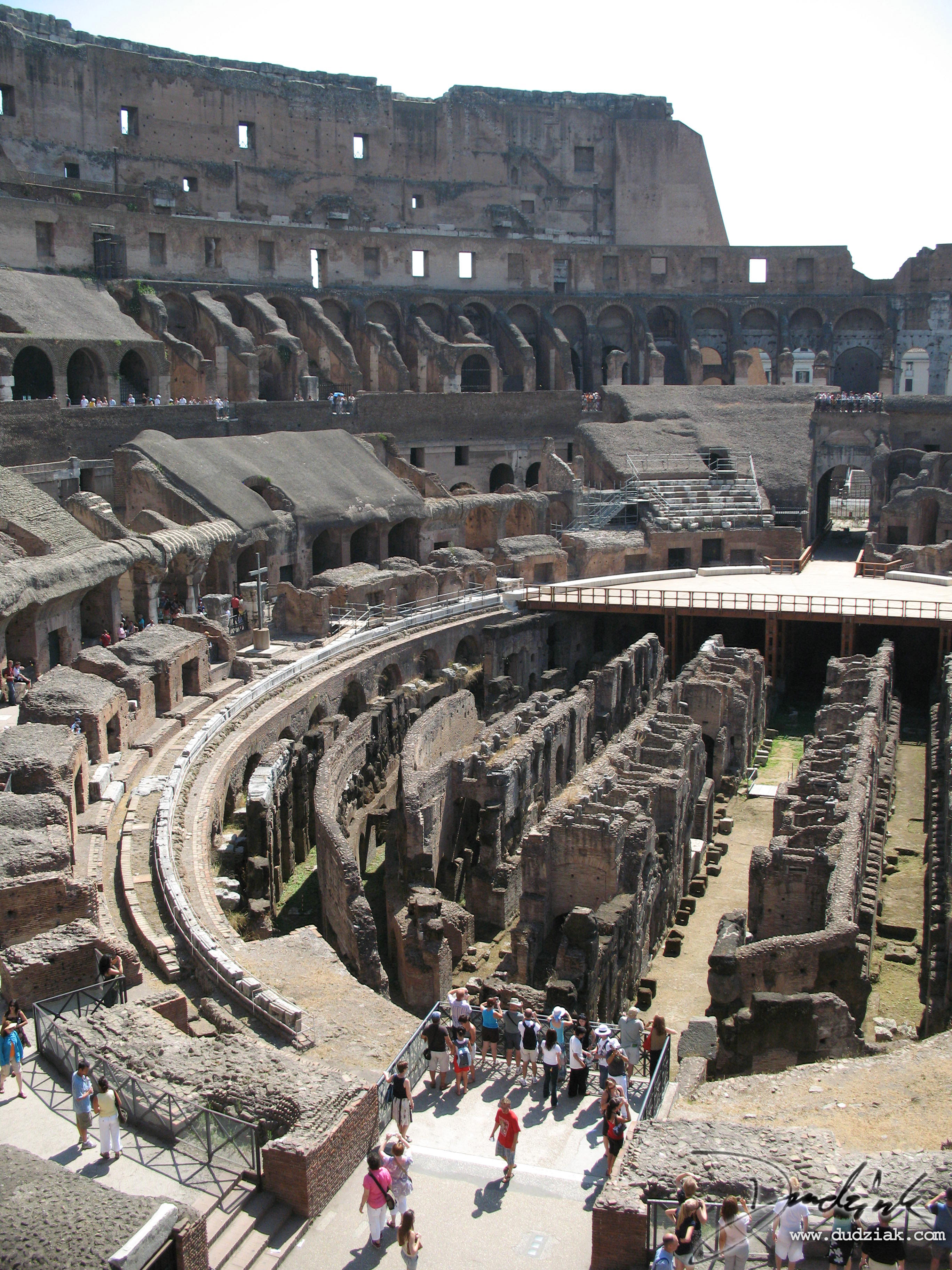 Picture of the Roman Colosseum's middle and Northern interior.  Rome, Italy.