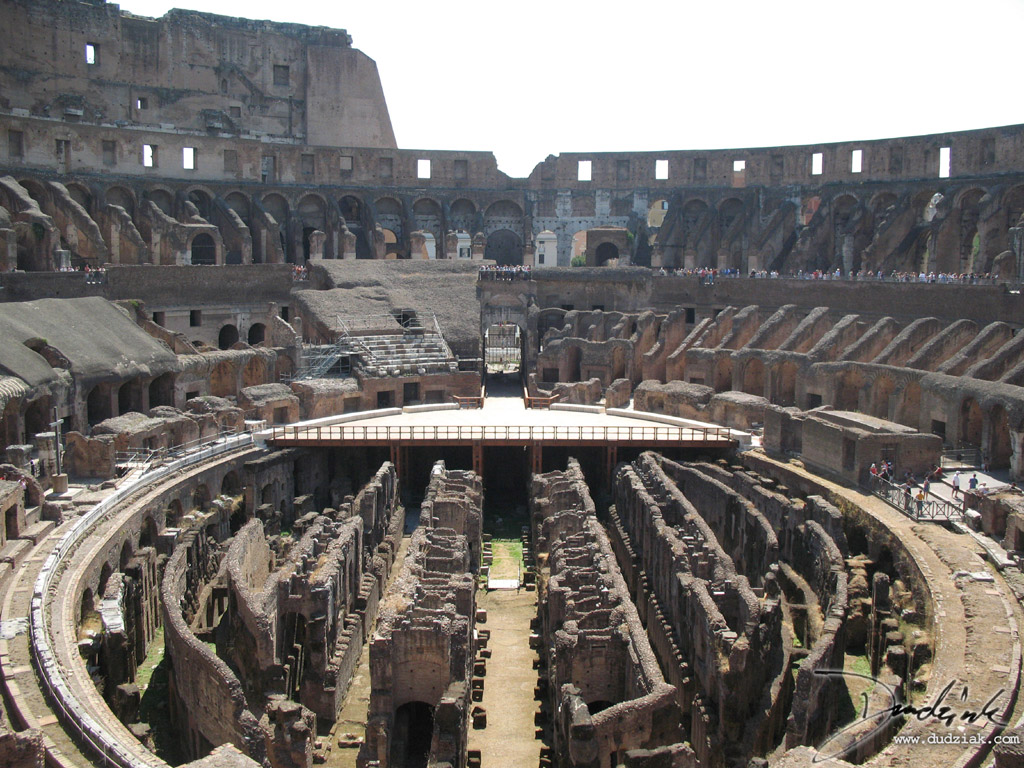 Picture of the Roman Colosseum interior.  Rome, Italy.