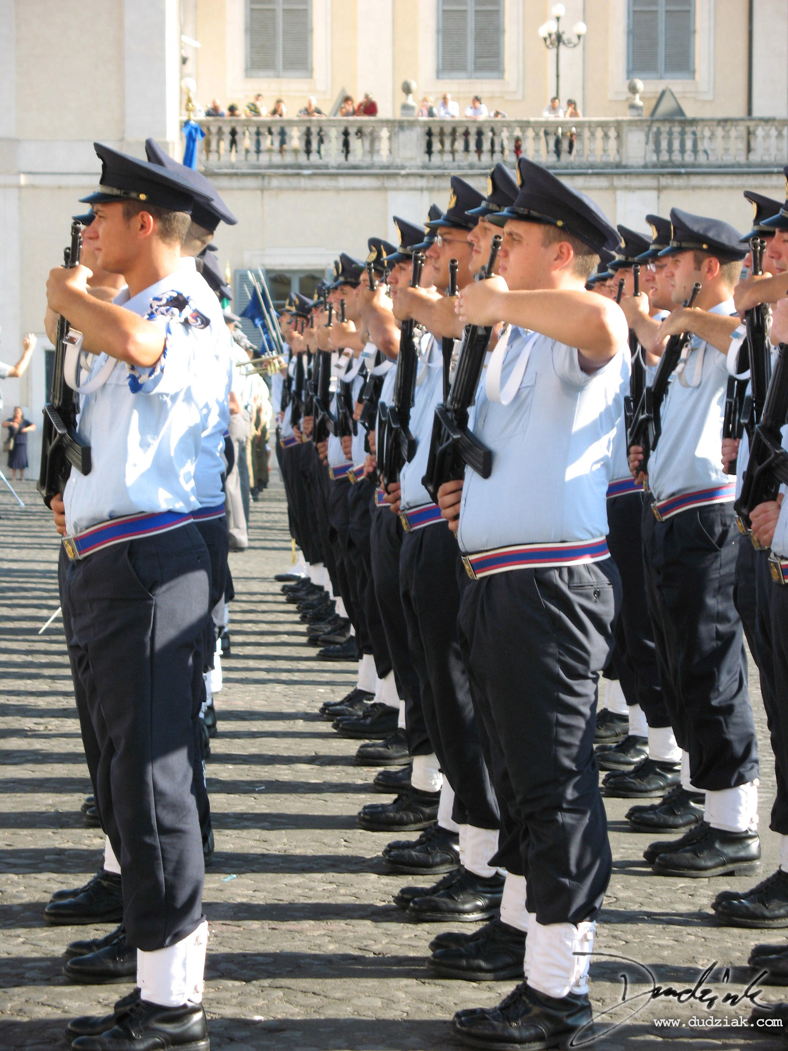 Picture of the changing of the guard outside the president's estate in Rome, Italy