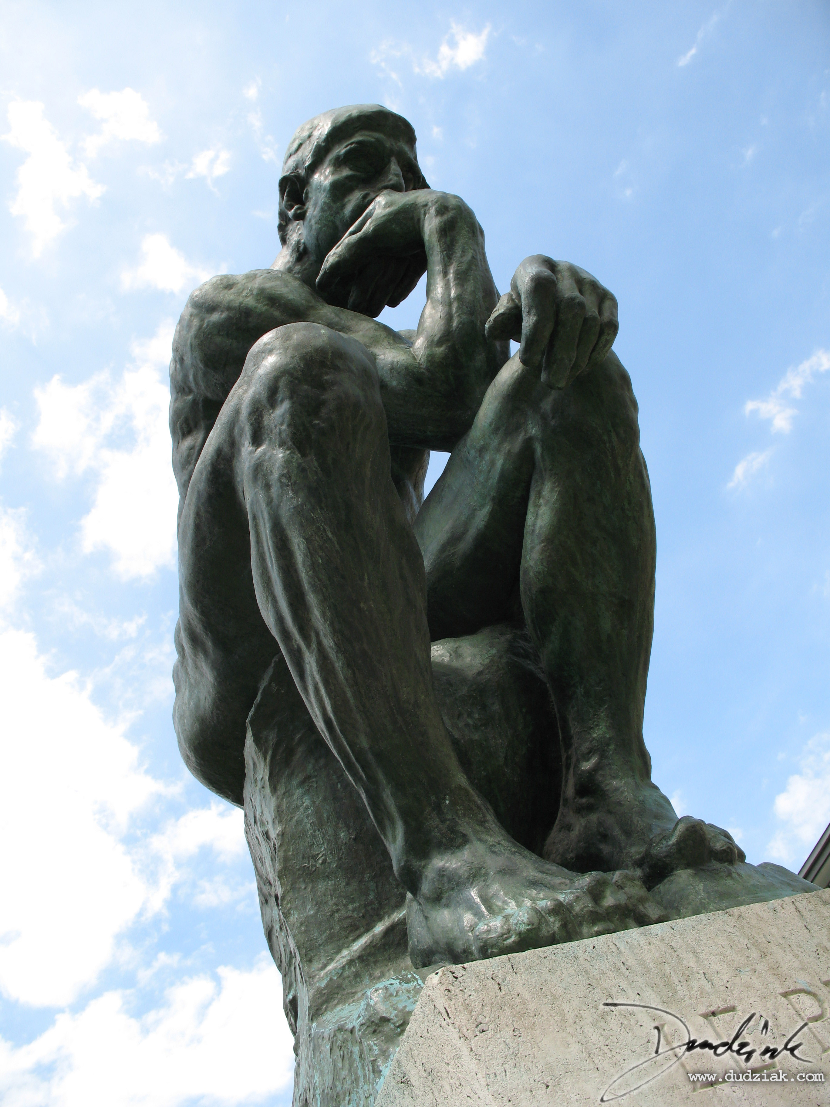 "Picture of ""The Thinker"" by Rodin.  Also known as ""Le Penseur"".  Picture taken at the Musee Rodin in Paris."
