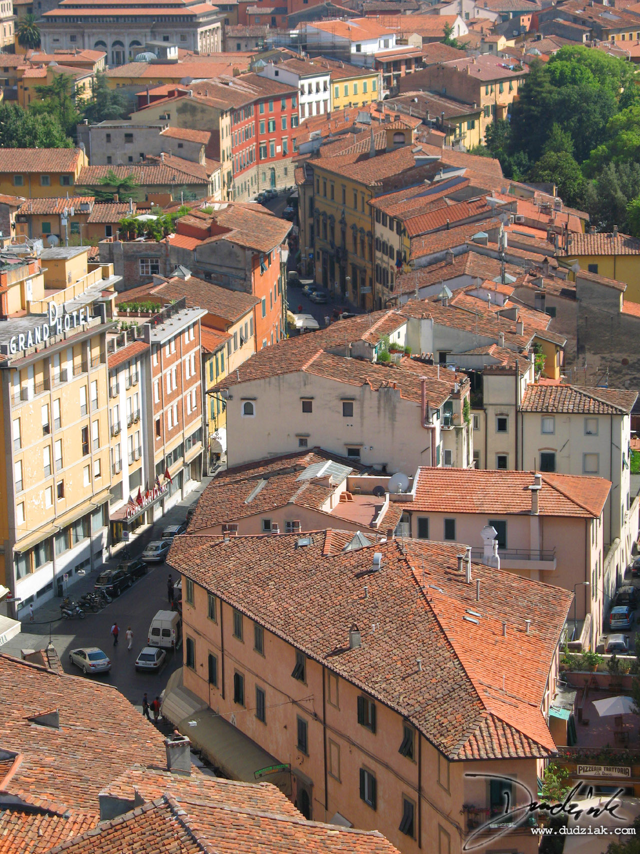 Picture of the streets of Pisa, Italy from the balcony of the Leaning tower of Pisa.