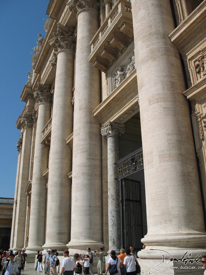 Picture of the enterence to the portico of Saint Peter's Basilica in the Vatican City.