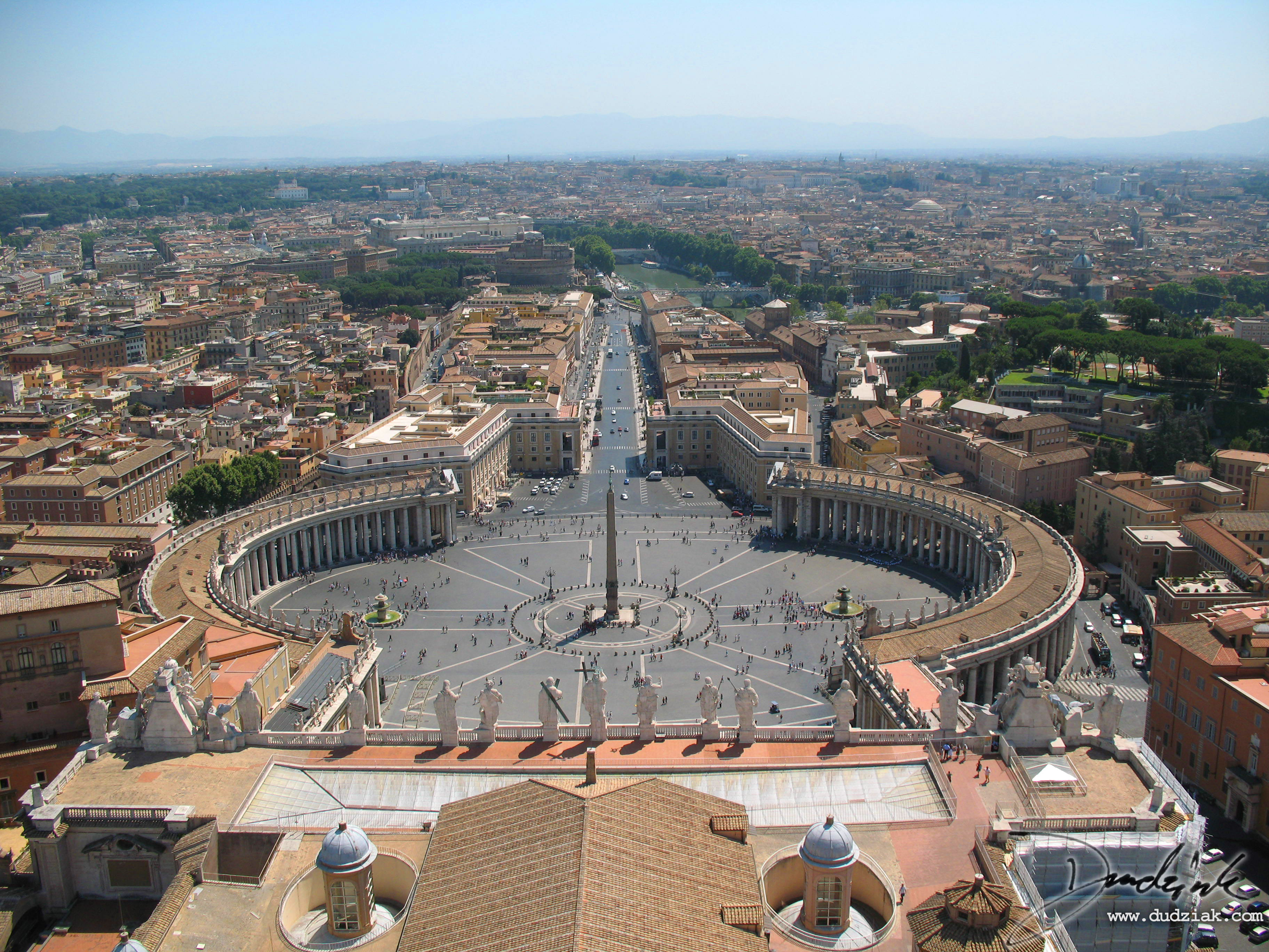 Picture of Saint Peter's Square in the Vatican City from the top of Saint Peter's Basilica.