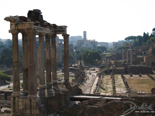 Picture of the remains of the Temple of Saturn overlooking the Roman Forum in Rome, Italy.  The three Remaining Columns of the Temple of Castor and Pollux can be seen to the right, and the Roman Colosseum can be seen in the distance in the center.
