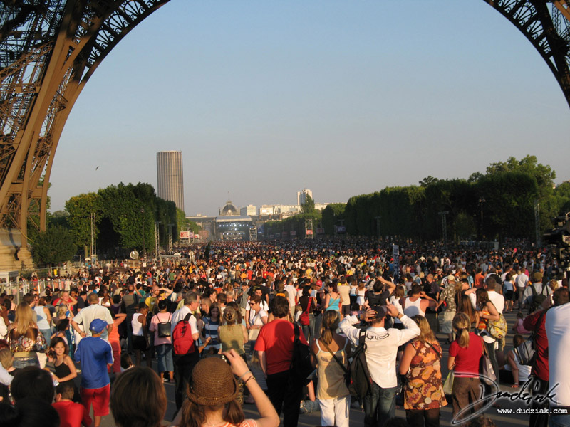 Picture of the party under the Eiffel Tower on Bastille Day (quatorze juillet) in Paris, France.