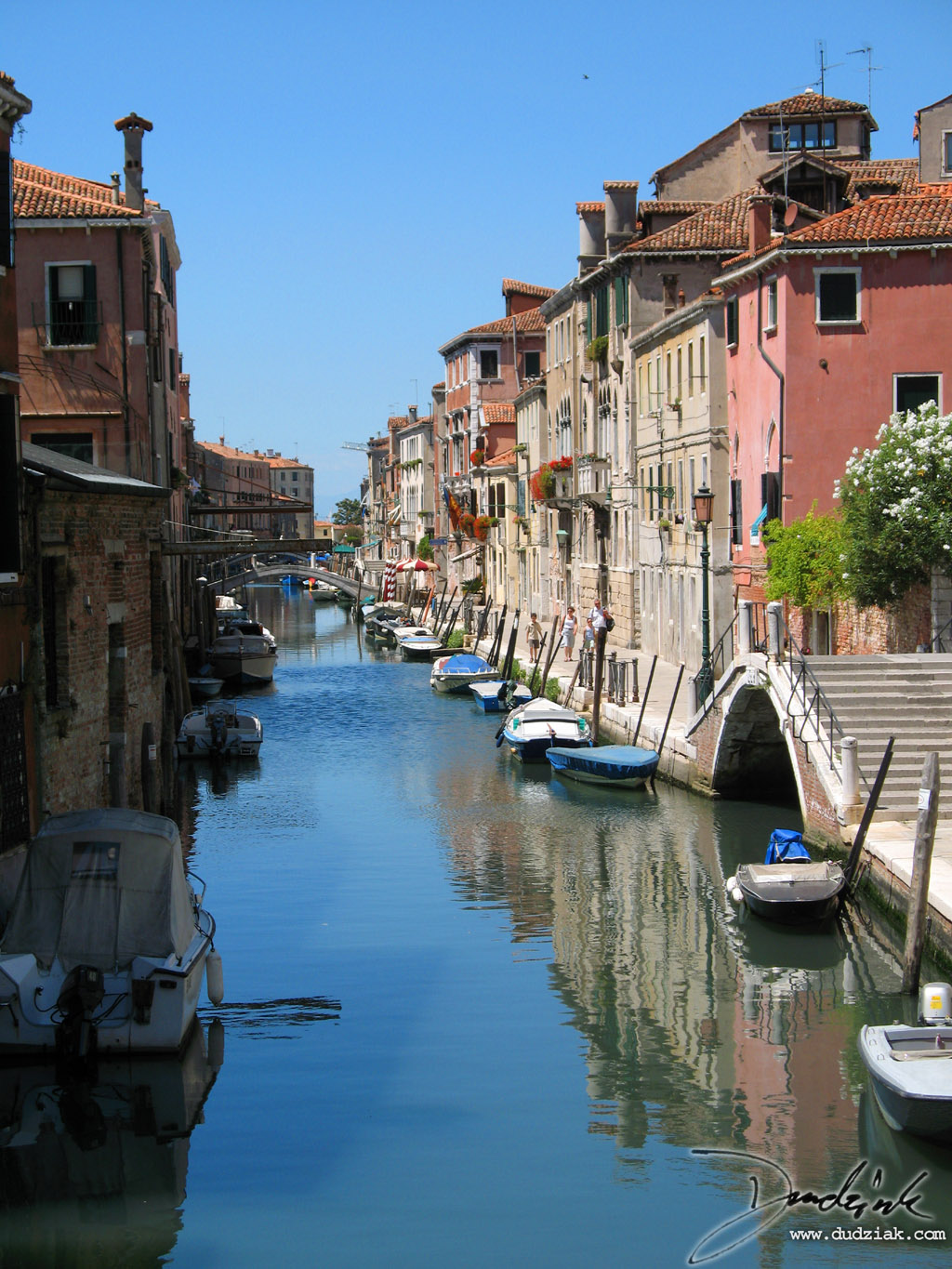 Picture of a venetian canal without all the tourists.  This picture is of canal Rio della Sensa facing West.<br><br>[Lat, Long]:[45.44520606531528, 12.332088947296142]
