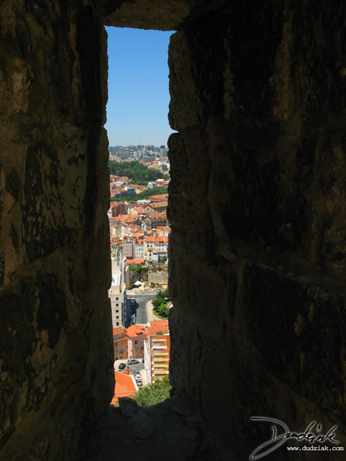 Loophole,  Castelo São Jorge,  Embrasure,  Lisbon Portugal,  Castle of Saint George,  Lisboa,  Arrowslit,  Castle Walls