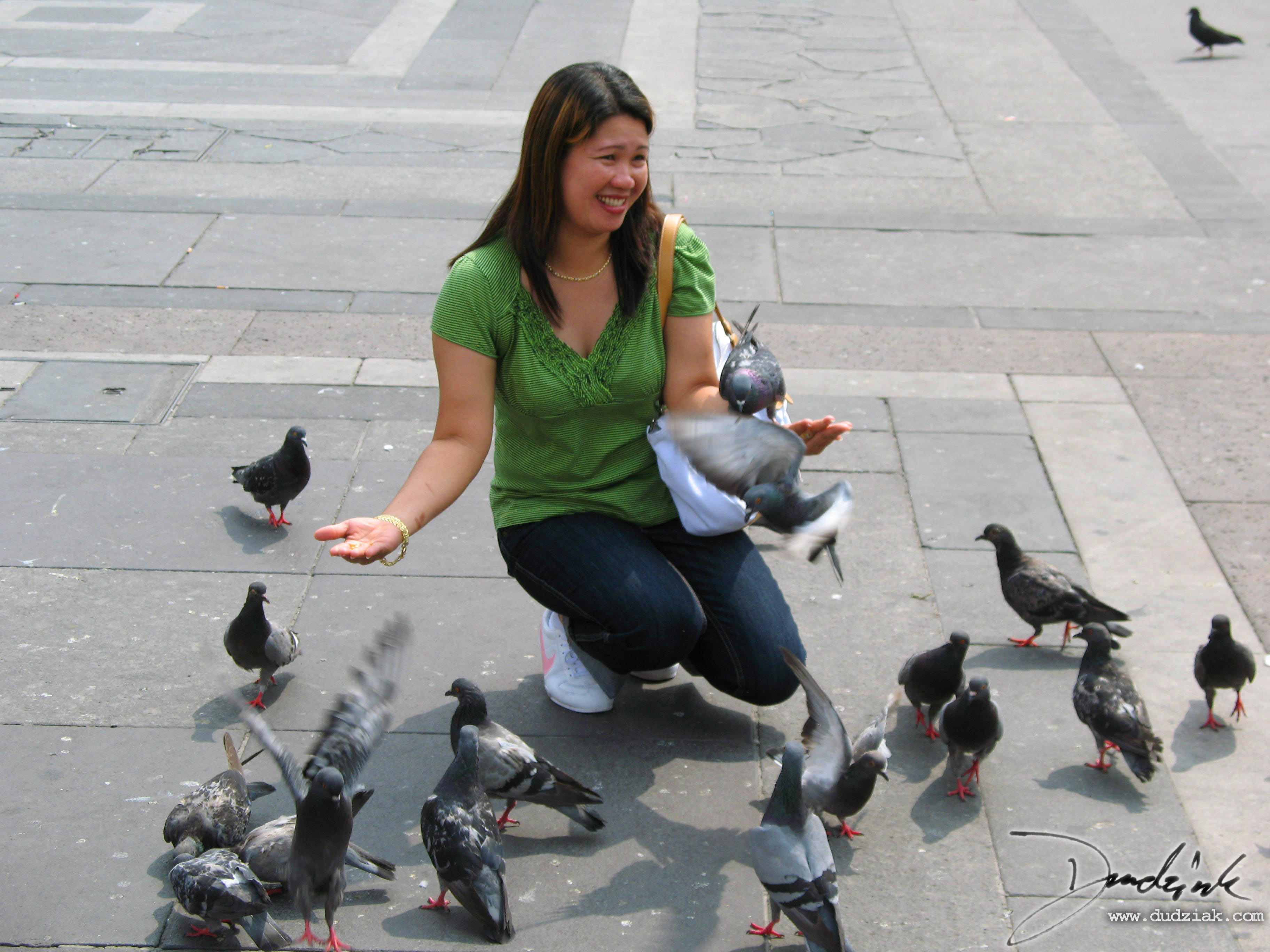 Feeding the pigeons in the Piazza del Duomo in Milan, Italy.