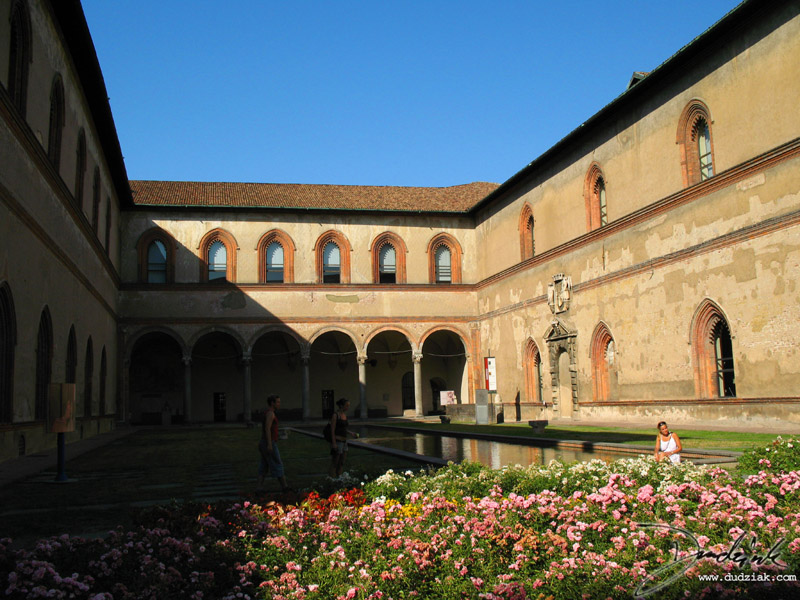 Picture of a reflecting pool in a courtyard in Castello Sforzesco.  Milan, Italy.