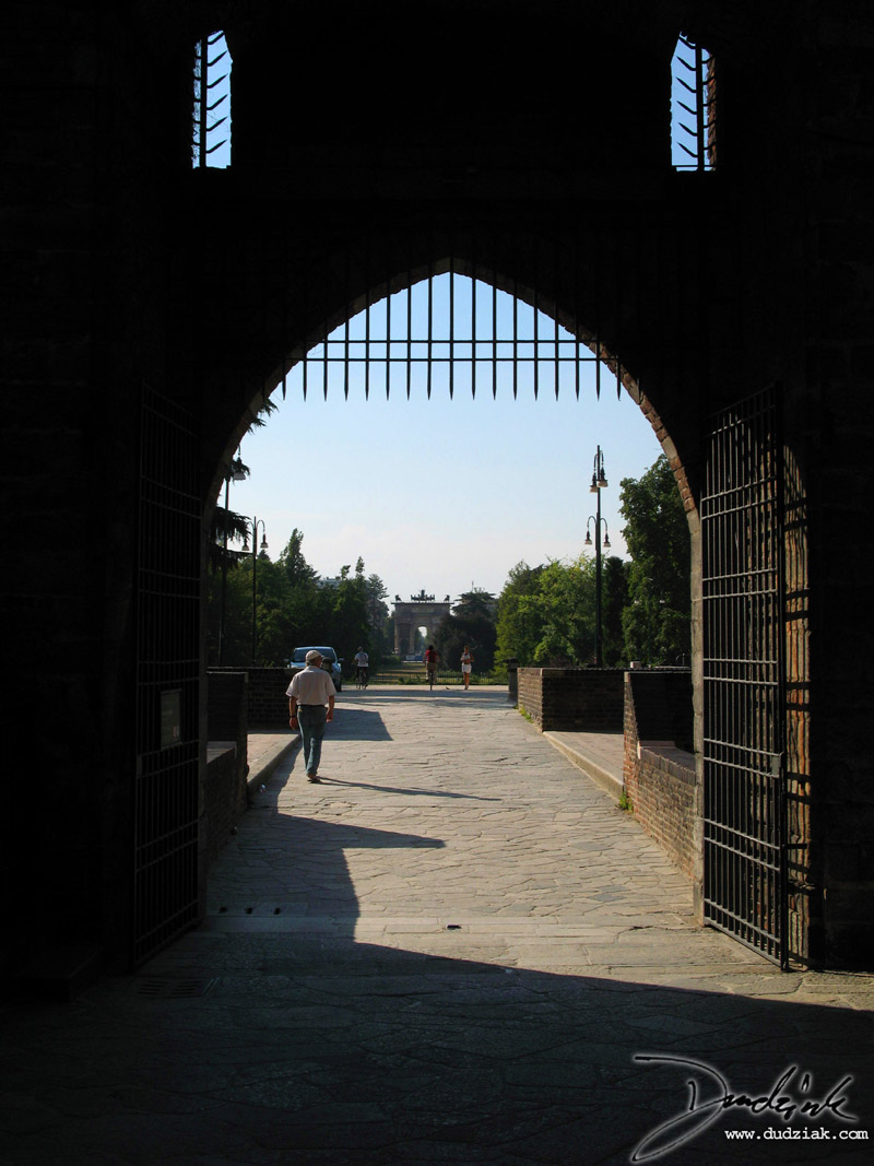 Picture of the Northwest enterence to Castle Sforzesco in Milan, Italy