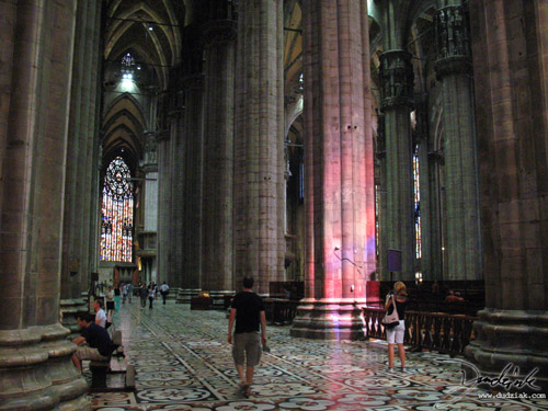 Picture of inside the cathedral of Milan.  Note the incredible scale of the gothic architecture.