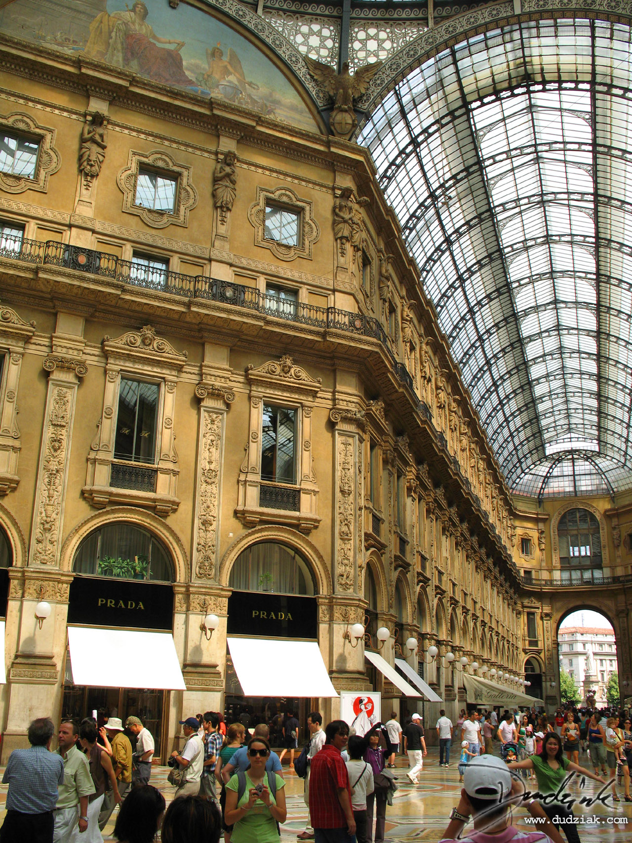 Picture of the Prada store in the Galleria V. Emmanuelle in Milan, Italy.