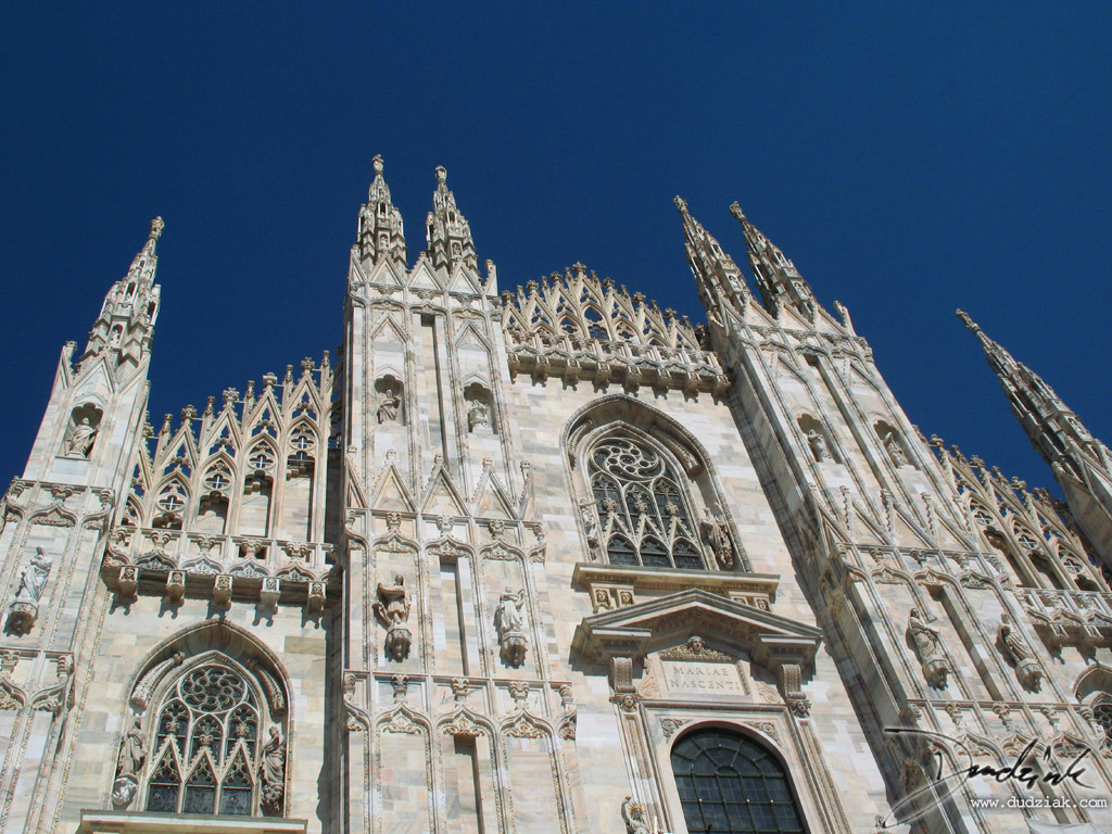 Picture of the upper front of the Cathedral of Milan in Milan, Italy.