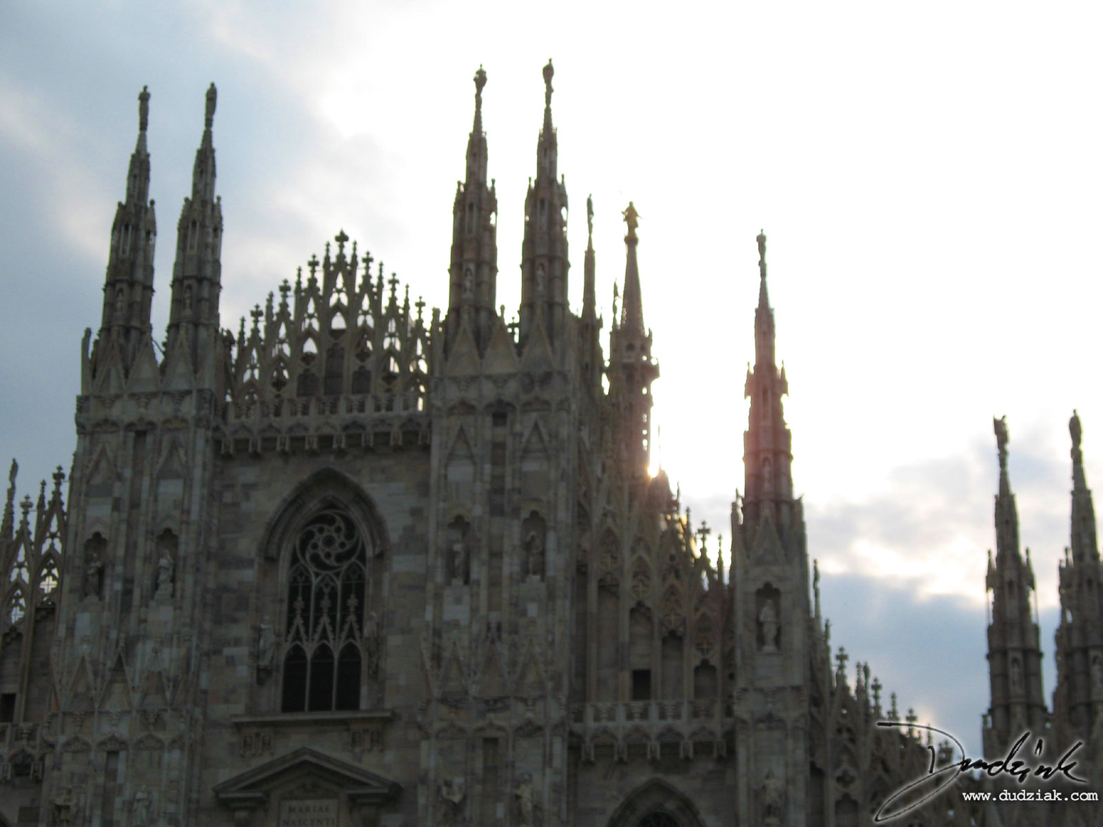 Picture of the upper front fo the Cathedral of Milan in Milan, Italy.