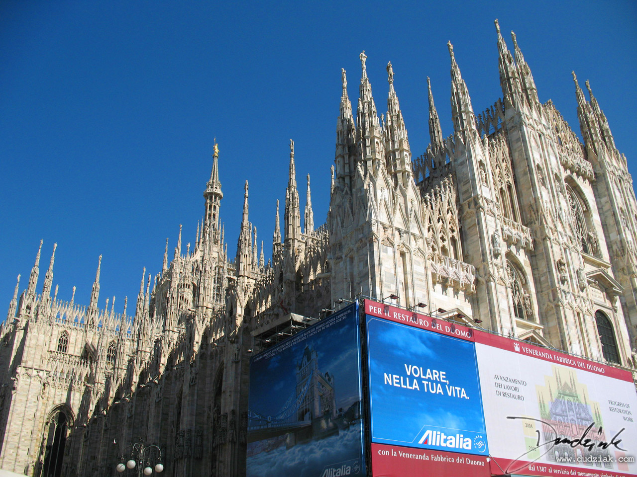 Picture of the gothic spires of the Cathedral of Milan