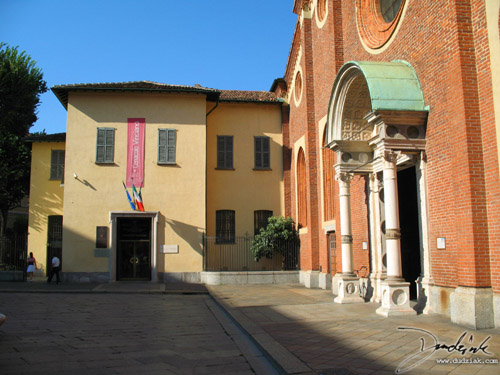 Picture of the enterence to Santa Maria delle Grazie in Milan, Italy.