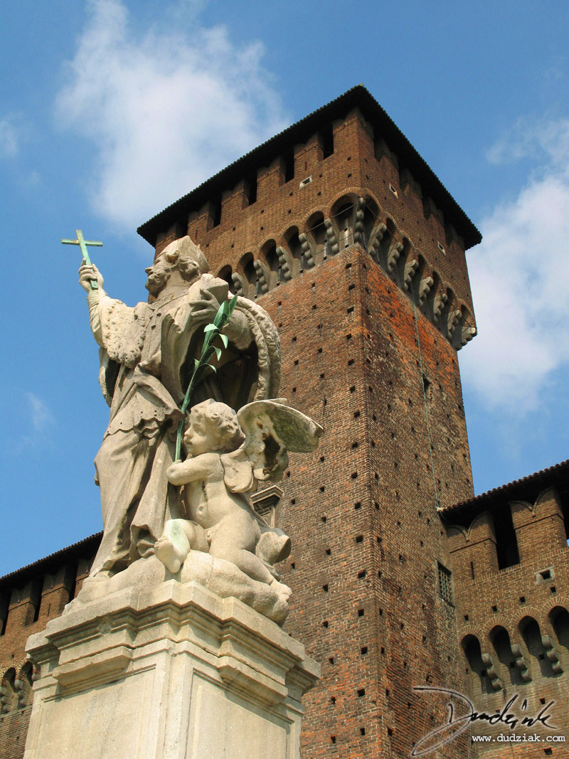 A statue within Sforzesco Castle.