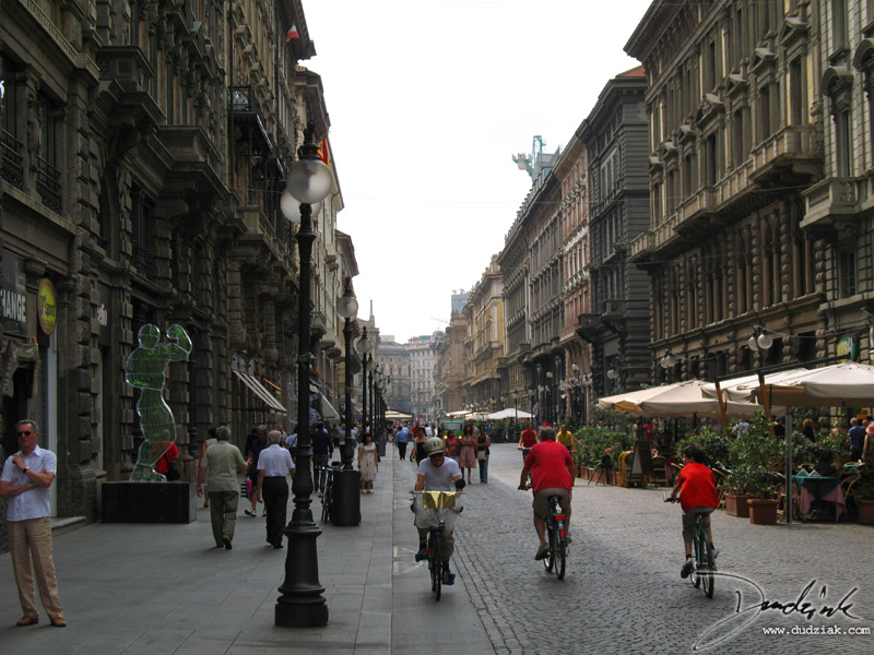Picture of Via Dante, one of the main streets in Milan, Italy.