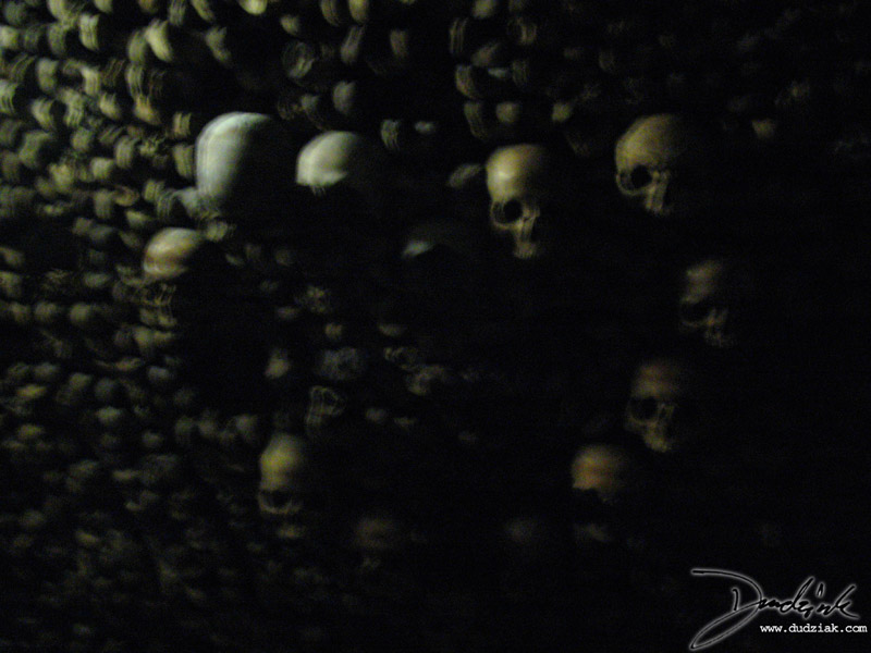 Heart made out of skulls in the Paris Catacombs