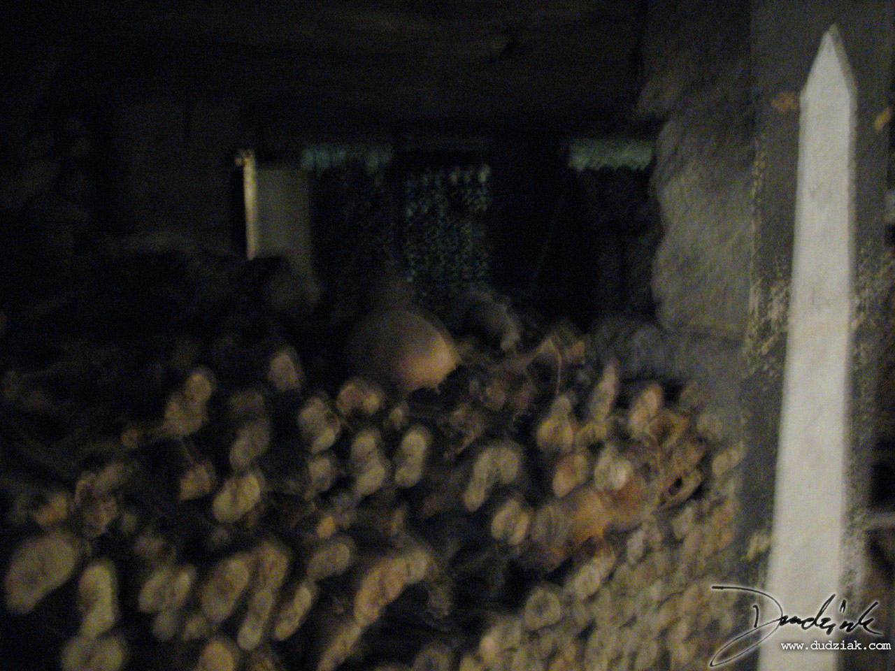 Piles of bones in the Paris Catacombs