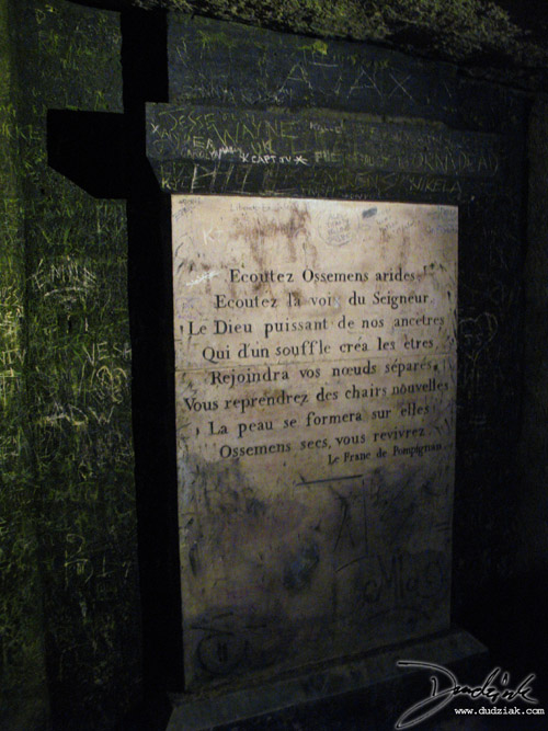Stone tablet in the Paris Catacombs