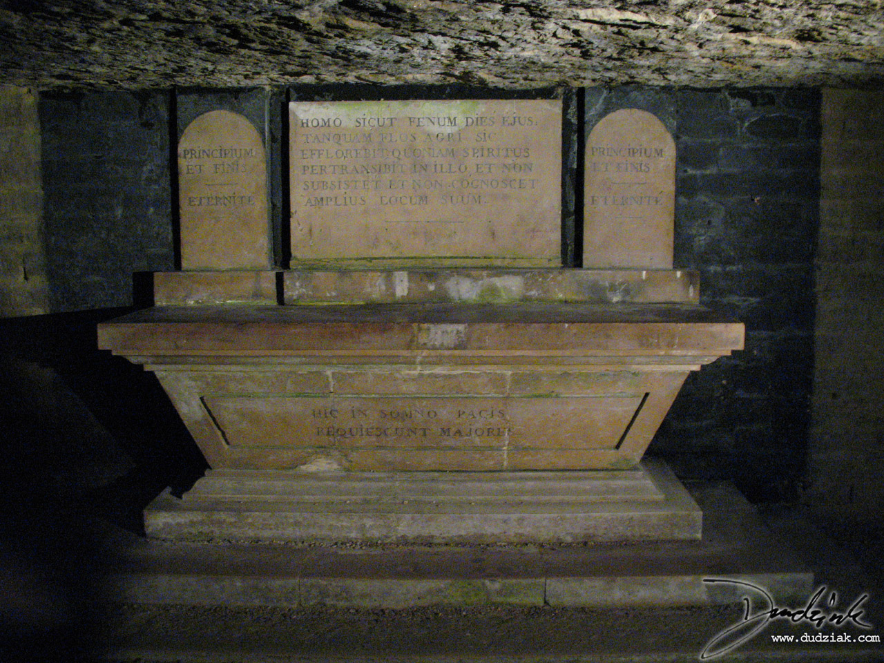 Tombstone in the Paris Catacombs