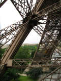 Admiring the steel and metalwork while climbing the Eiffel Tower