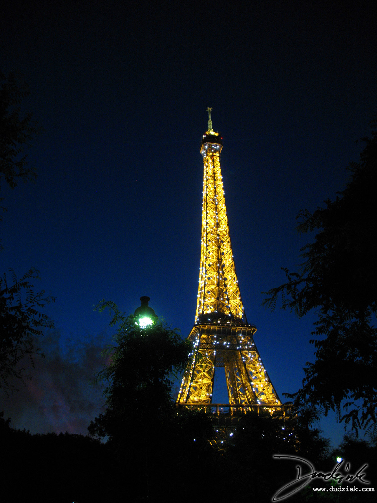 Lighted,  Night,  Eiffel Tower,  Paris France