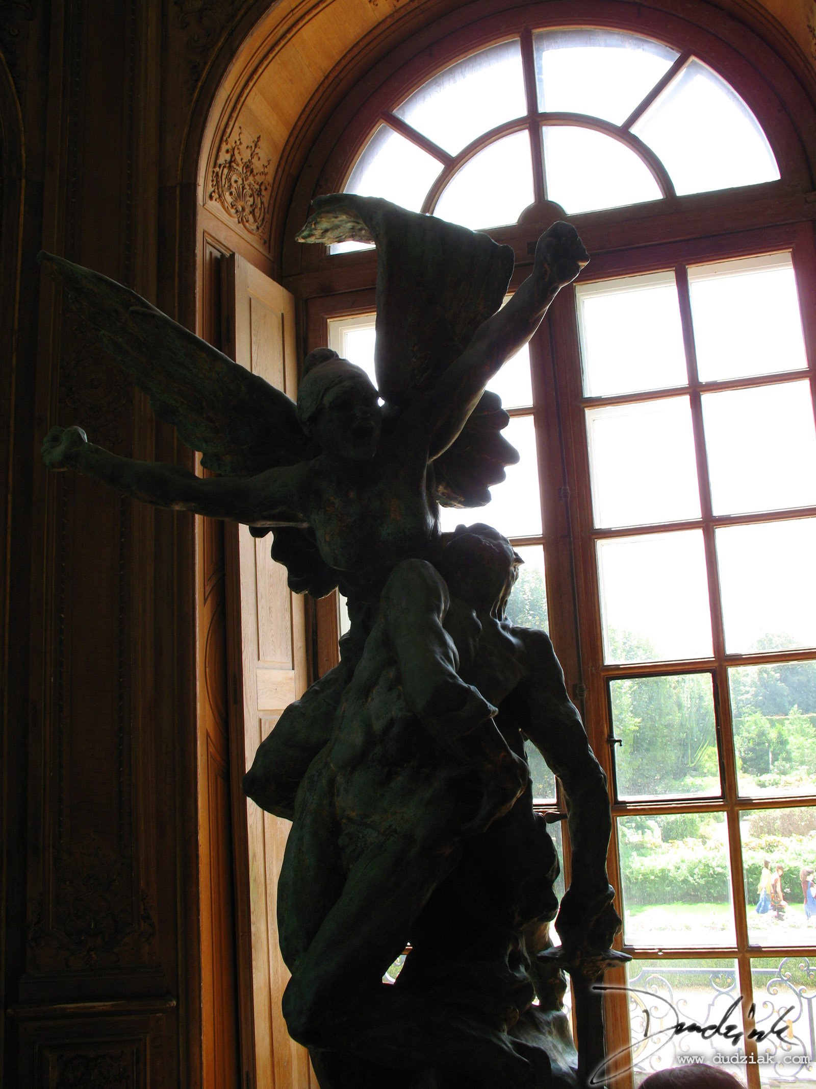 "Picture of ""Call to Arms"" sculpture by Rodin involving an Angel and a Soldier in the Rodin Museum (Musee Rodin) in Paris, France."
