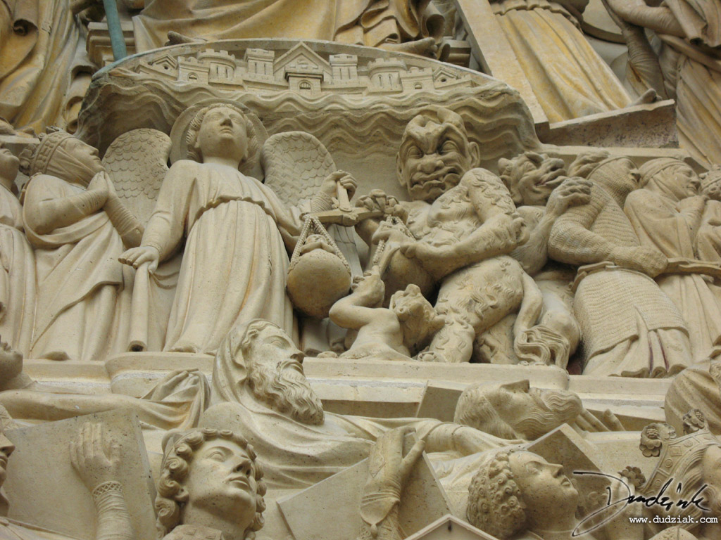 Tympanum,  Notre Dame Cathedral,  Final Judgment,  Paris,  Notre Dame,  France