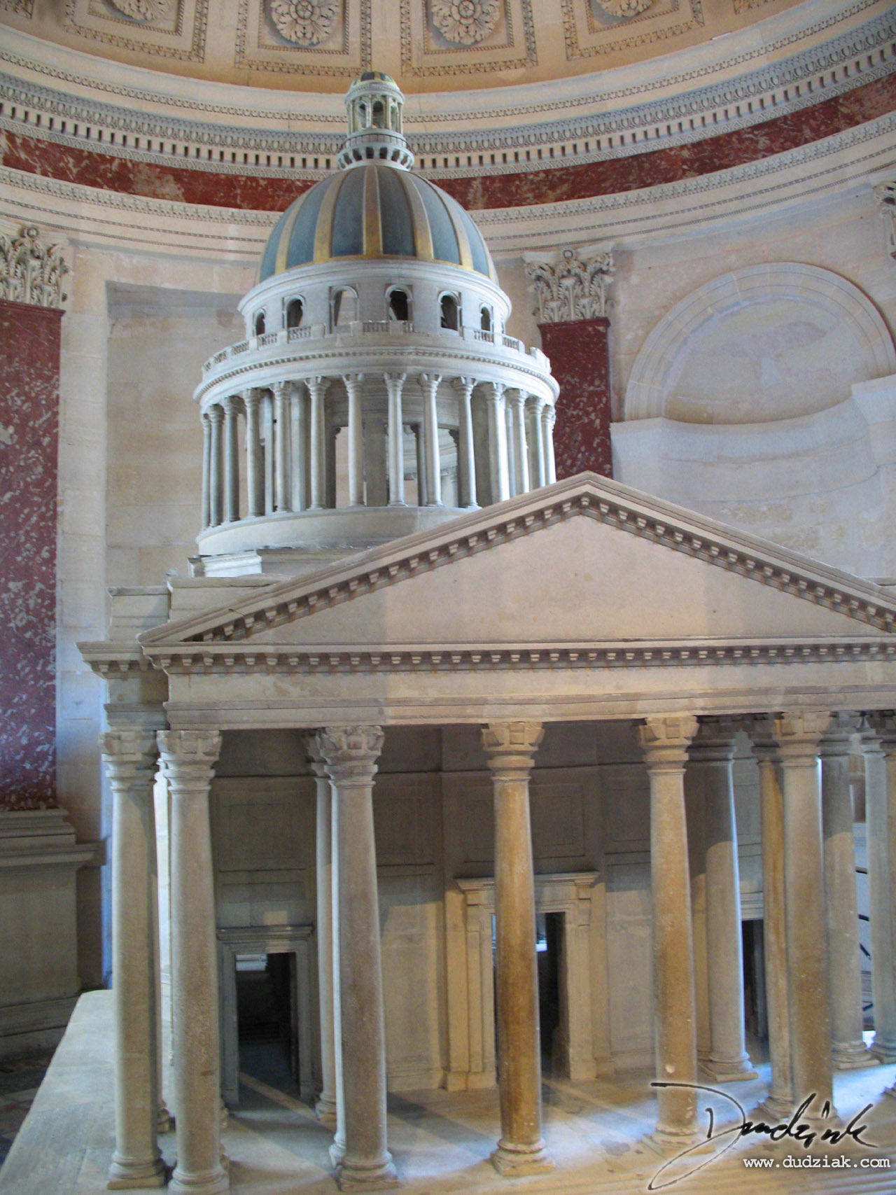 Picture of a model-sized version of the Paris Pantheon within the Paris Pantheon itself.