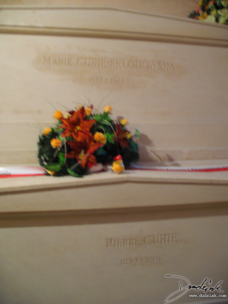 Picture of the tombs of Marie and Pierre Curie in the Paris Pantheon.