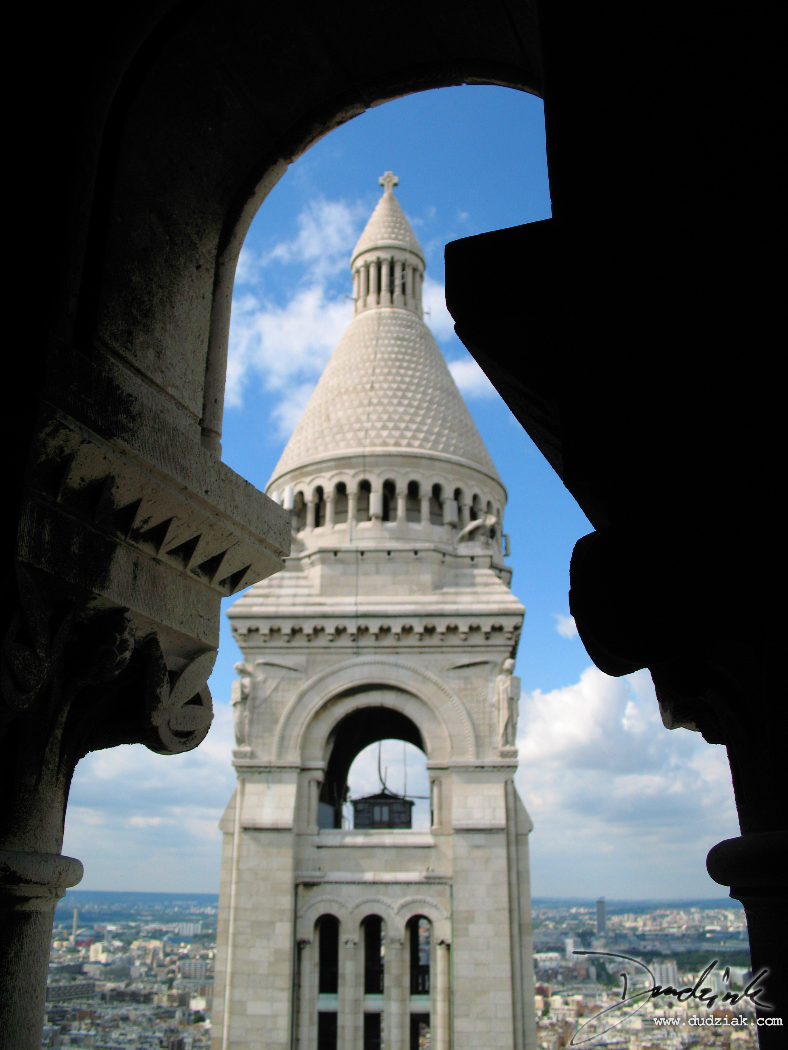 bell tower as seen from the capital dome  sacre coeur