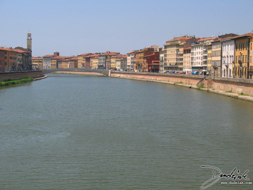 Arno River in Pisa Italy looking West from Ponte della Fortezza.