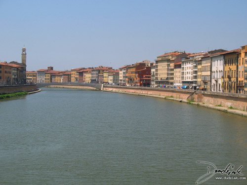 Arno River in Pisa looking West from Ponte della Fortezza.