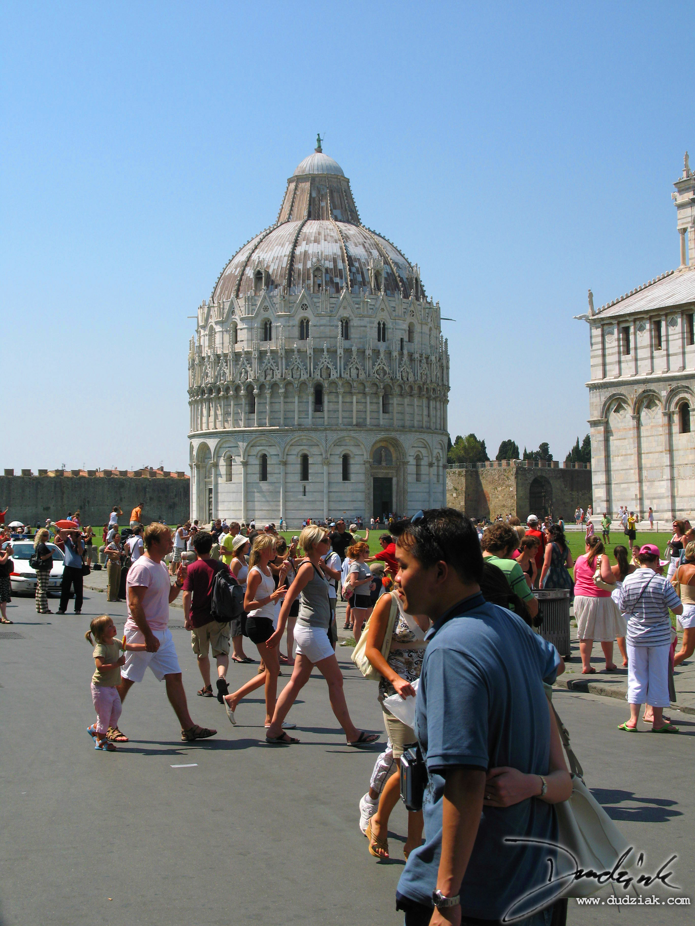 Picture of the Pisa Baptistery as part of the Campo dei Miracoli (field of miracles) in Pisa, Italy.