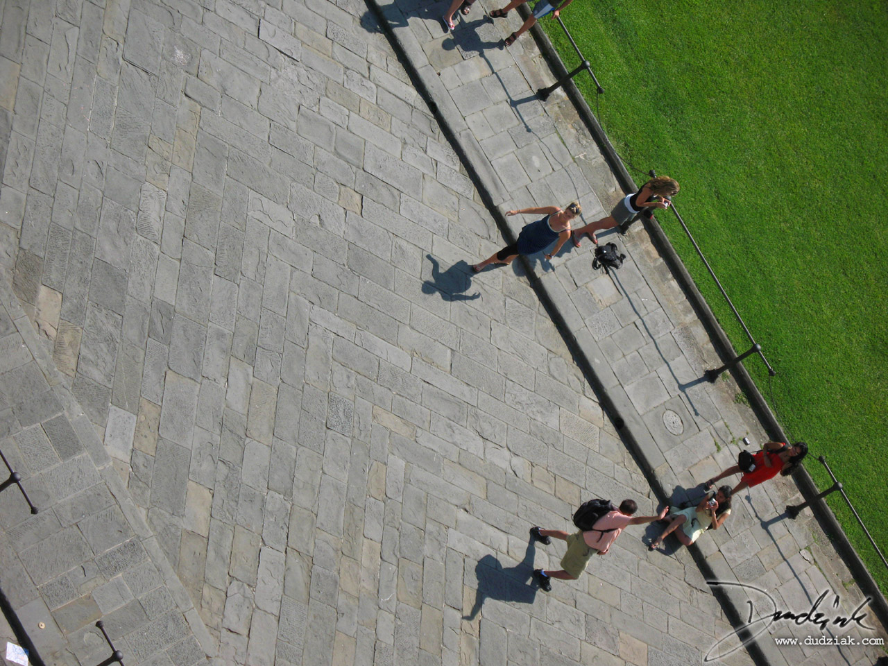 View nearly straight down on the Field of Miracles from the Leaning Tower of Pisa.