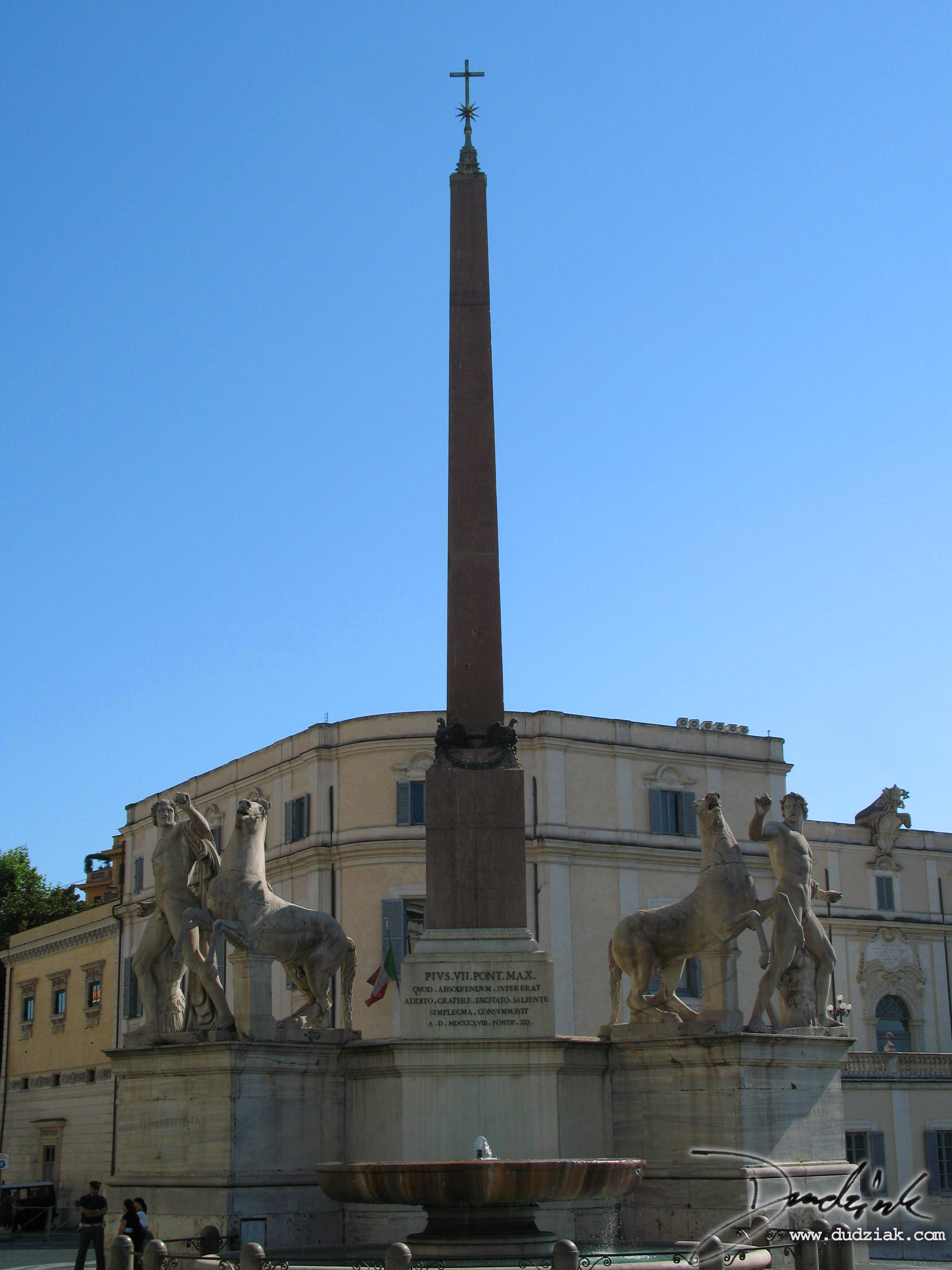 Picture of the egyptian obelisk in the Quirinale Plazza, (plazzo quinriale).