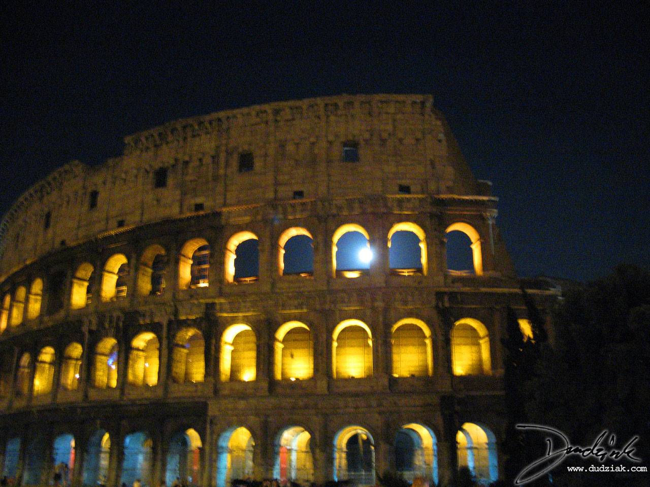 Roman Arch,  Flavian Amphitheatre,  Roman Colosseum,  moonlight,  Colosseum,  Rome,  Roma,  moon,  night,  Italy