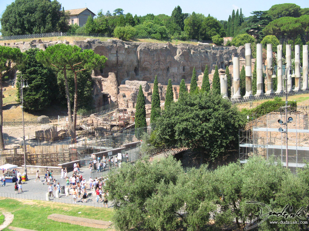Eastern enterence to the Roman Forum as seen from the Roman Colosseum in Rome, Italy.