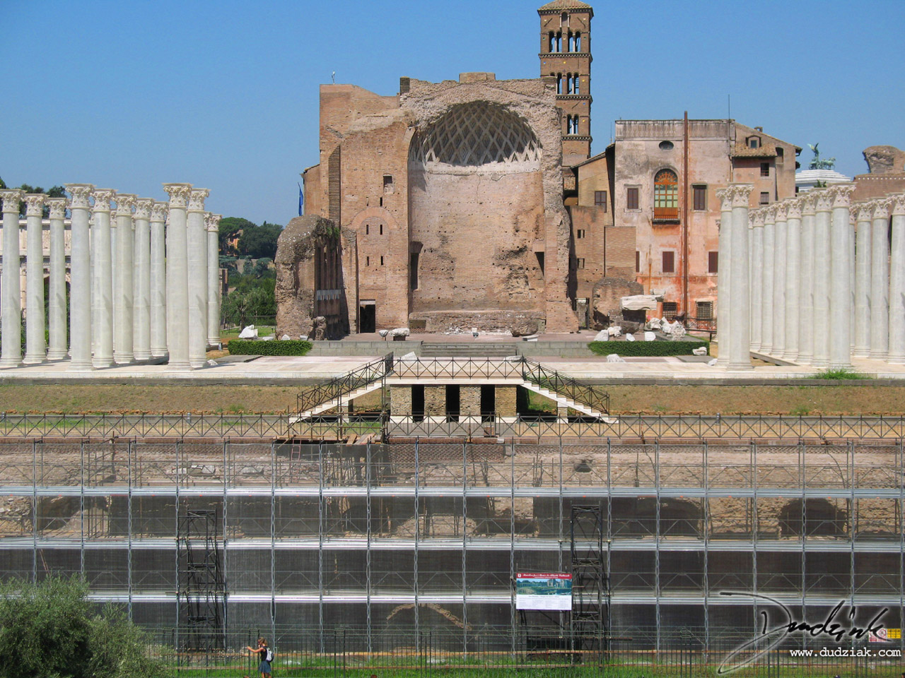 Temple of Venus and Roma as seen from the Roman Colosseum in Rome, Italy.