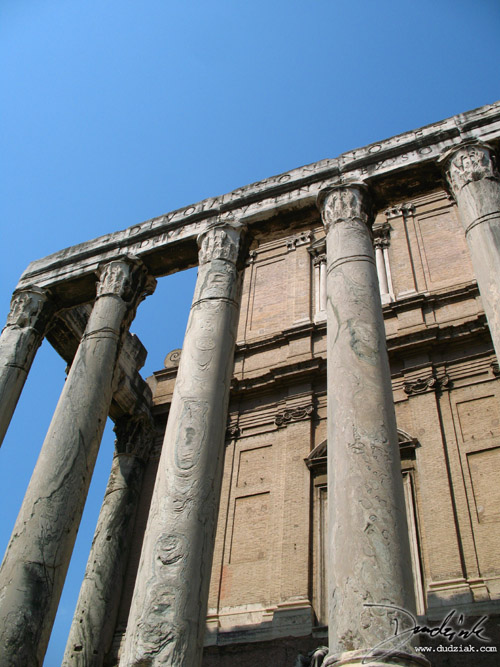 Frontal picture of the Temple of Antoninus and Faustina in the Roman Forum in Rome, Italy.