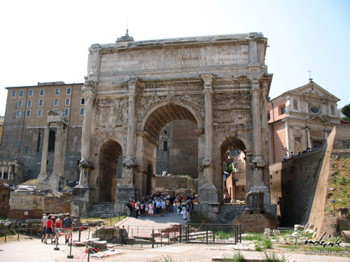 Picture of the Arch of Septimius Severus standing in the western side of the Roman Forum in Rome, Italy.