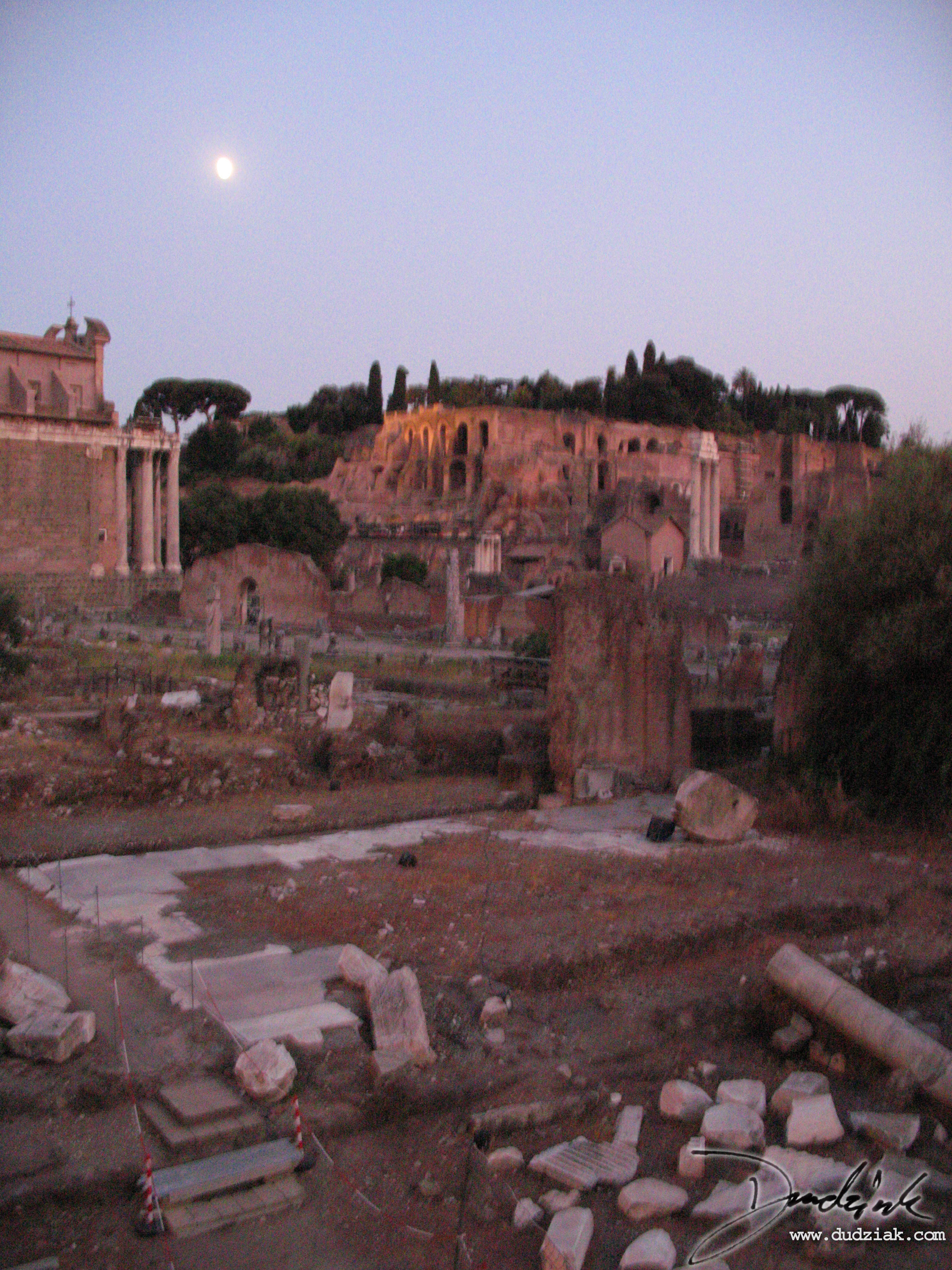 dusk,  moonlight,  italy,  rome,  roman forum