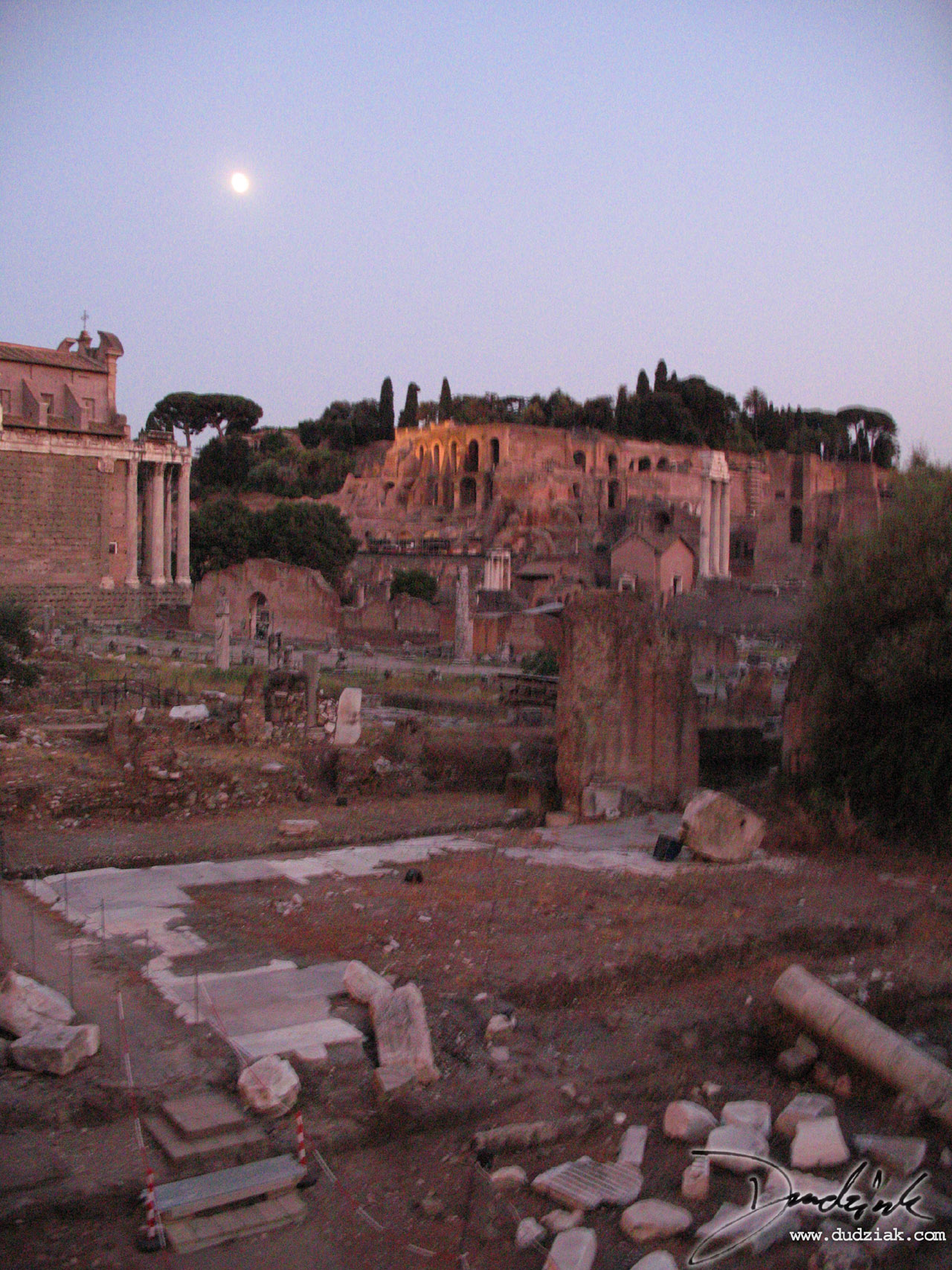 dusk,  rome,  italy,  roman forum,  moonlight