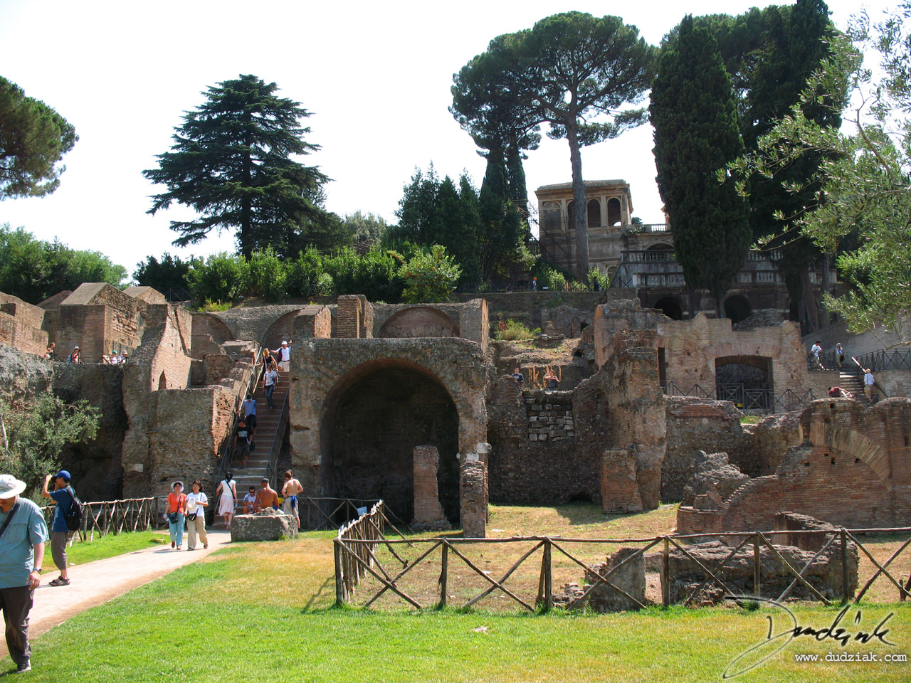 Picture of some ruins, looking toward the Palentine Hill while standing in the Roman Forum in Rome, Italy.