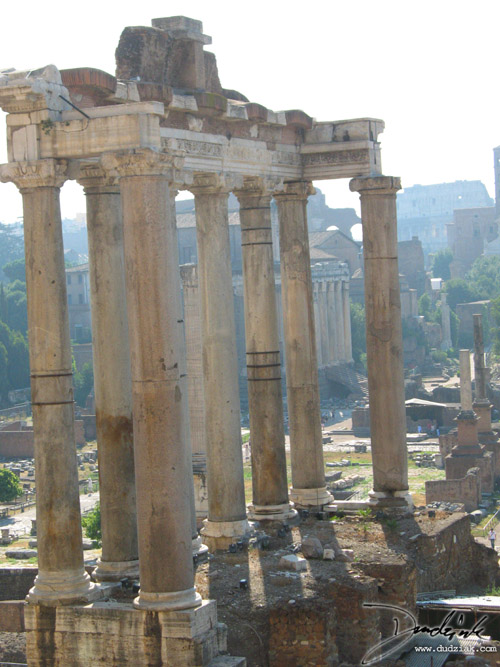 Picture of the remaining structure of the Temple of Saturn in the Roman Forum in Rome, Italy.
